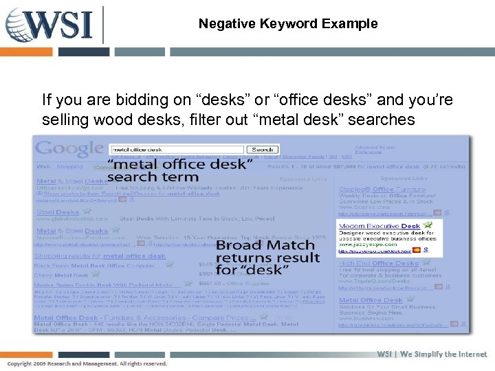 "Negative Keyword Example If you are bidding on ""desks"" or ""office desks"" and you're"