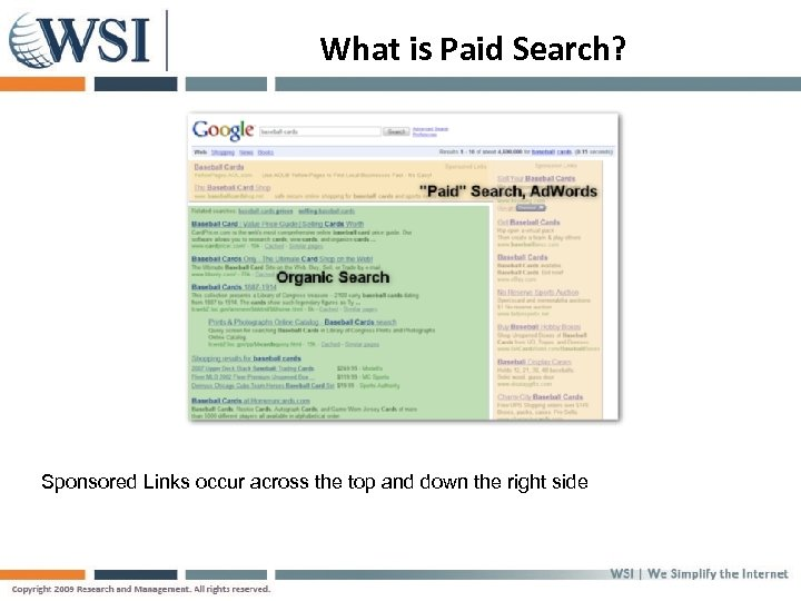 What is Paid Search? Sponsored Links occur across the top and down the right