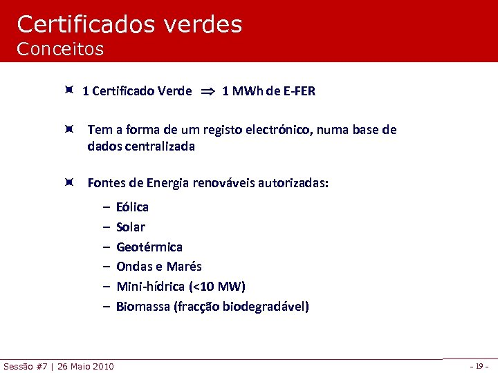 Certificados verdes Conceitos 1 Certificado Verde 1 MWh de E-FER Tem a forma de