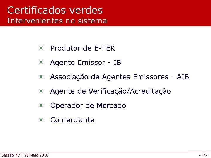 Certificados verdes Intervenientes no sistema ÷ Produtor de E-FER ÷ Agente Emissor - IB