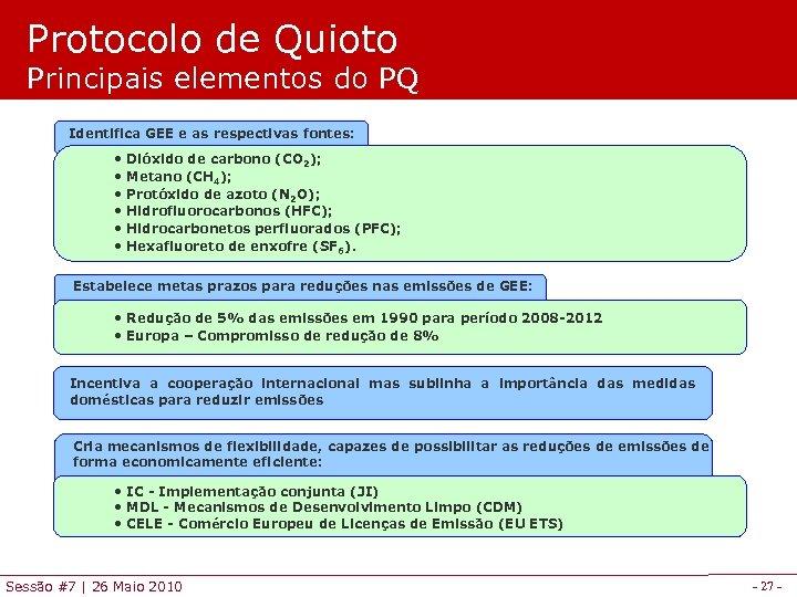 Protocolo de Quioto Principais elementos do PQ Identifica GEE e as respectivas fontes: •