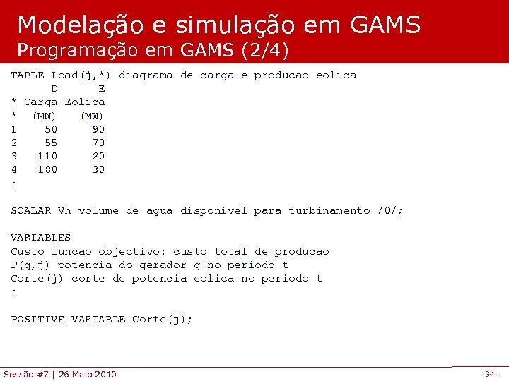 Modelação e simulação em GAMS Programação em GAMS (2/4) TABLE Load(j, *) diagrama de