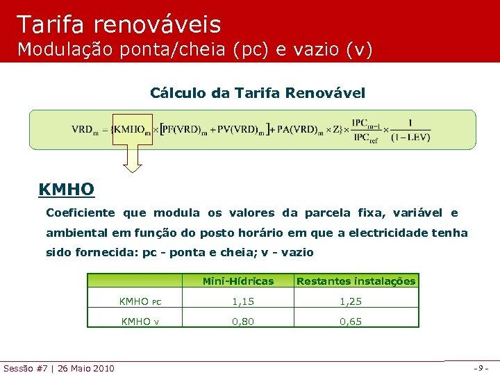 Tarifa renováveis Modulação ponta/cheia (pc) e vazio (v) Cálculo da Tarifa Renovável KMHO Coeficiente