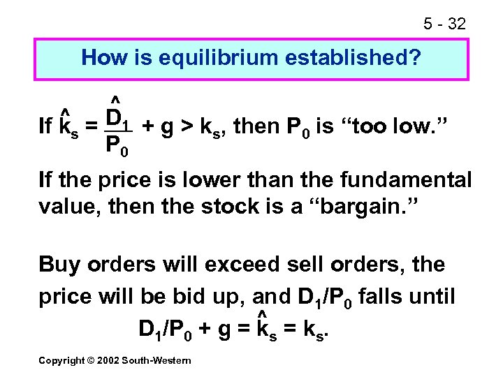 5 - 32 How is equilibrium established? ^ ^ If ks = D 1