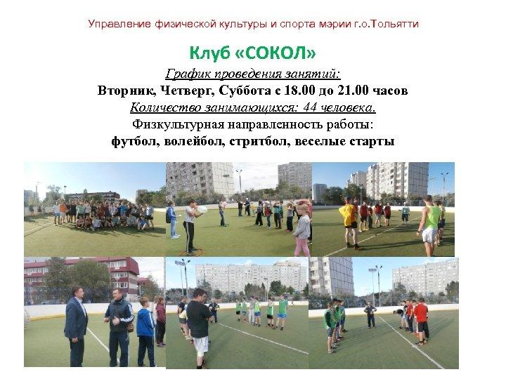 Управление физической культуры и спорта мэрии г. о. Тольятти Клуб «СОКОЛ» График проведения занятий: