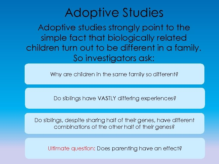 Adoptive Studies Adoptive studies strongly point to the simple fact that biologically related children