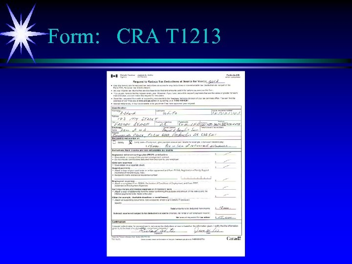 Form: CRA T 1213