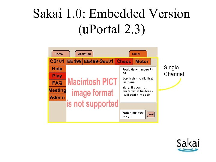 Sakai 1. 0: Embedded Version (u. Portal 2. 3) Home Athletics Sakai CS 101