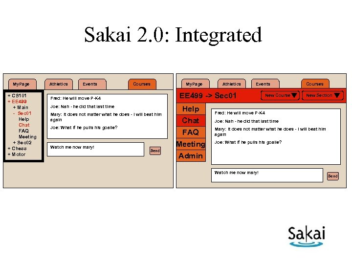 Sakai 2. 0: Integrated My. Page + CS 101 + EE 499 + Main