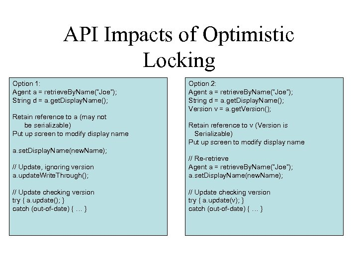 "API Impacts of Optimistic Locking Option 1: Agent a = retrieve. By. Name(""Joe""); String"