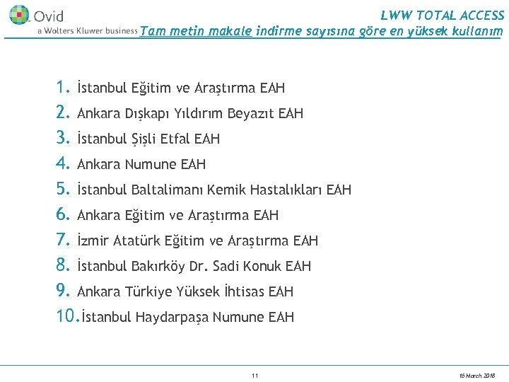 LWW TOTAL ACCESS Tam metin makale indirme sayısına göre en yüksek kullanım 1. İstanbul