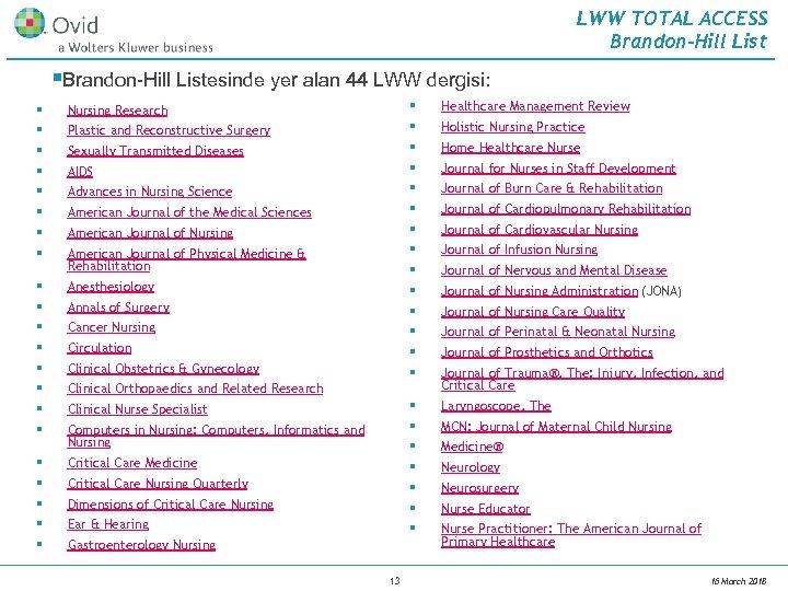 LWW TOTAL ACCESS Brandon-Hill List §Brandon-Hill Listesinde yer alan 44 LWW dergisi: § §