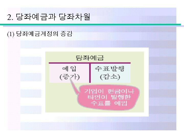 2. 당좌예금과 당좌차월 (1) 당좌예금계정의 증감