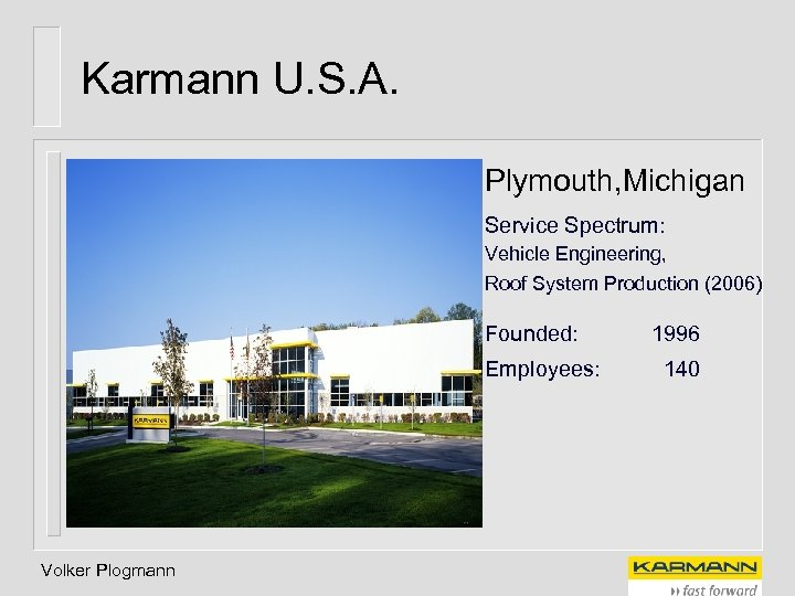 Karmann U. S. A. Plymouth, Michigan Service Spectrum: Vehicle Engineering, Roof System Production (2006)