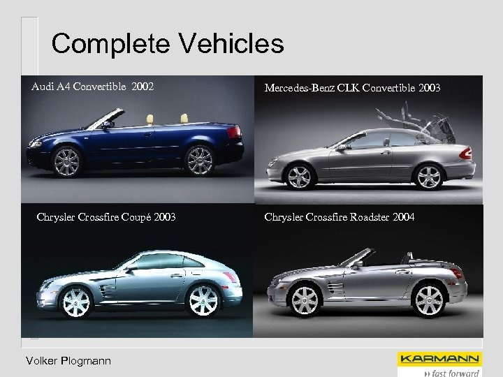 Complete Vehicles Audi A 4 Convertible 2002 Chrysler Crossfire Coupé 2003 Volker Plogmann Mercedes-Benz