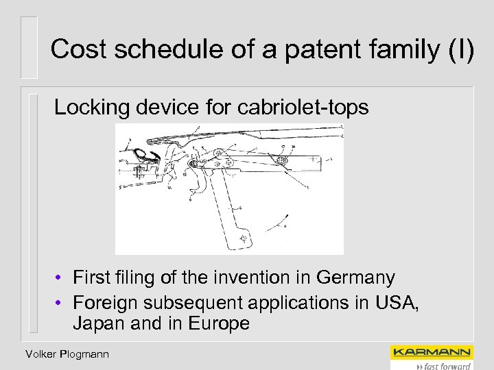 Cost schedule of a patent family (I) Locking device for cabriolet-tops • First filing