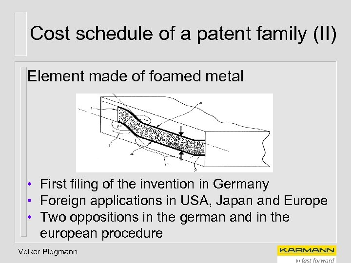 Cost schedule of a patent family (II) Element made of foamed metal • First