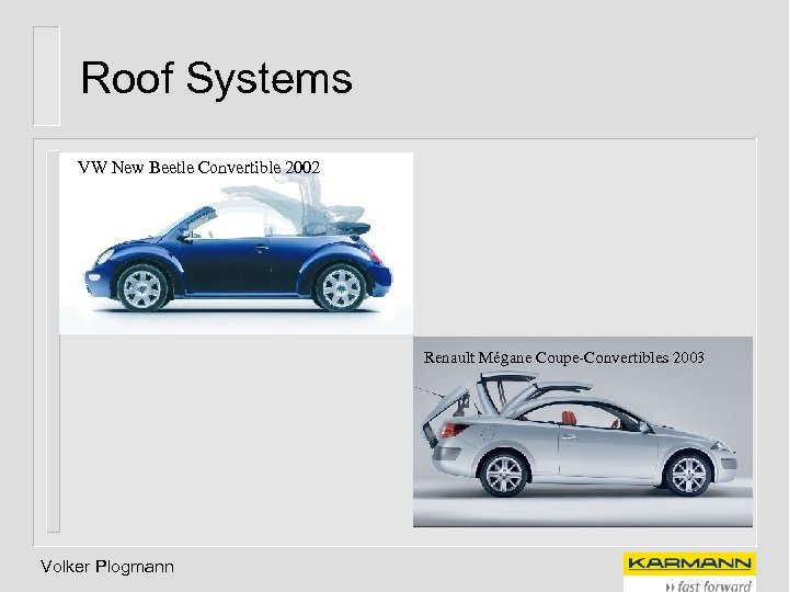 Roof Systems VW New Beetle Convertible 2002 Renault Mégane Coupe-Convertibles 2003 Volker Plogmann