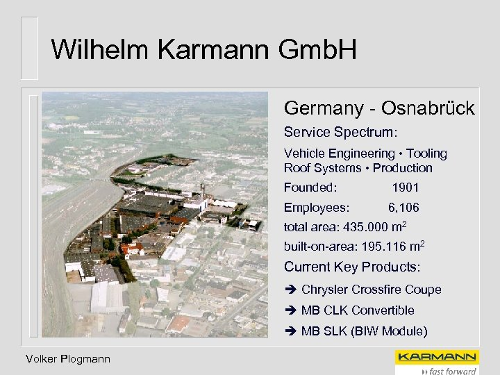 Wilhelm Karmann Gmb. H Germany - Osnabrück Service Spectrum: Vehicle Engineering • Tooling Roof