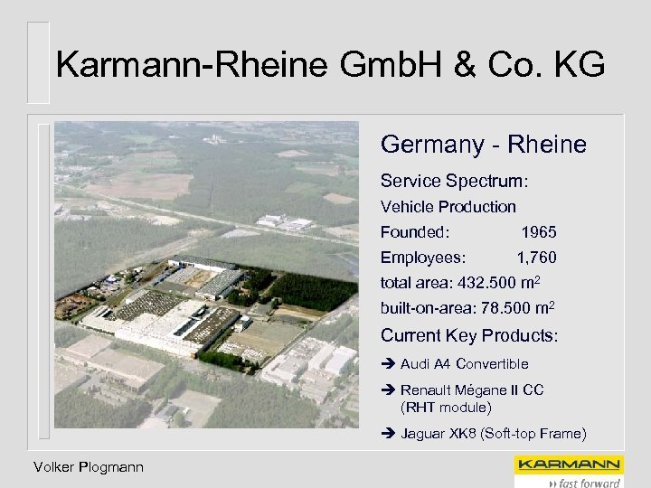 Karmann-Rheine Gmb. H & Co. KG Germany - Rheine Service Spectrum: Vehicle Production Founded: