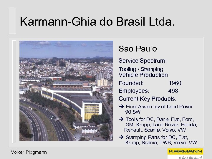 Karmann-Ghia do Brasil Ltda. Sao Paulo Service Spectrum: Tooling • Stamping Vehicle Production Founded: