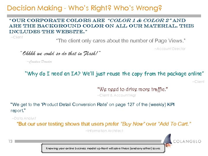 """Decision Making - Who's Right? Who's Wrong? """"Our corporate colors are """"color 1 &"""