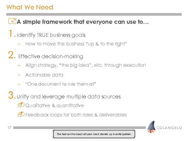 What We Need +A simple framework that everyone can use to… 1. Identify TRUE