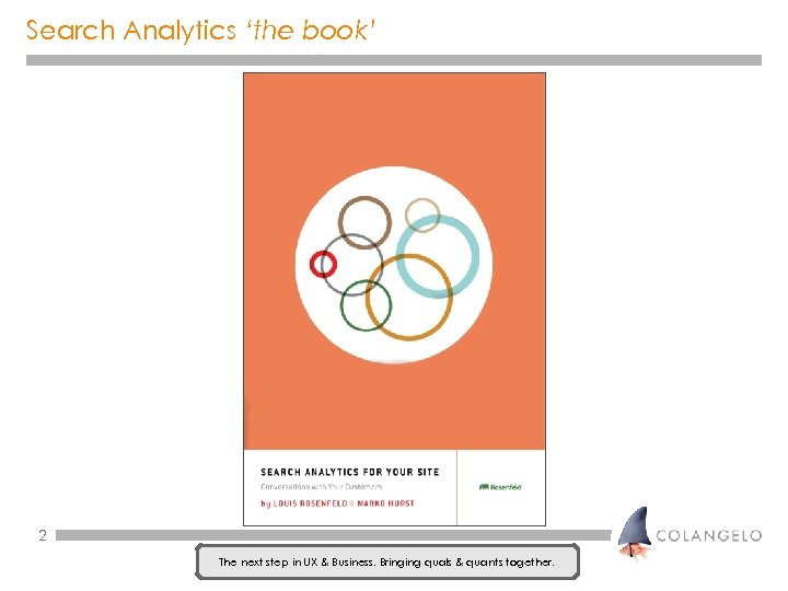 Search Analytics 'the book' 2 The next step in UX & Business. Bringing quals