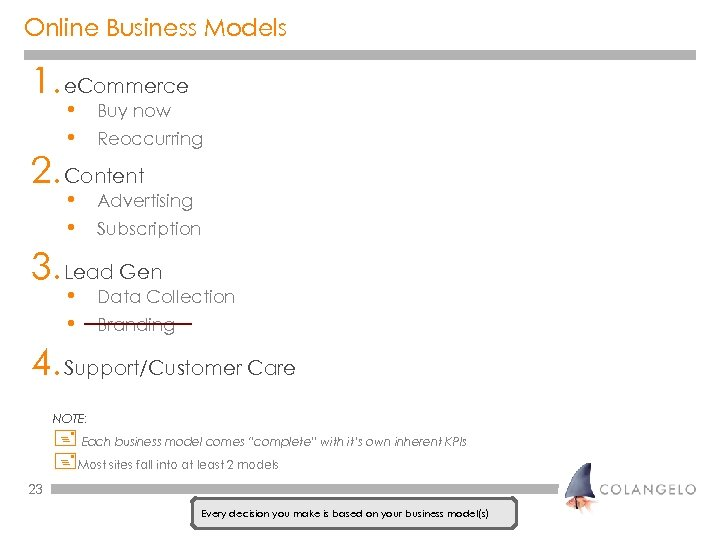 Online Business Models 1. e. Commerce • • Buy now • • Advertising Reoccurring
