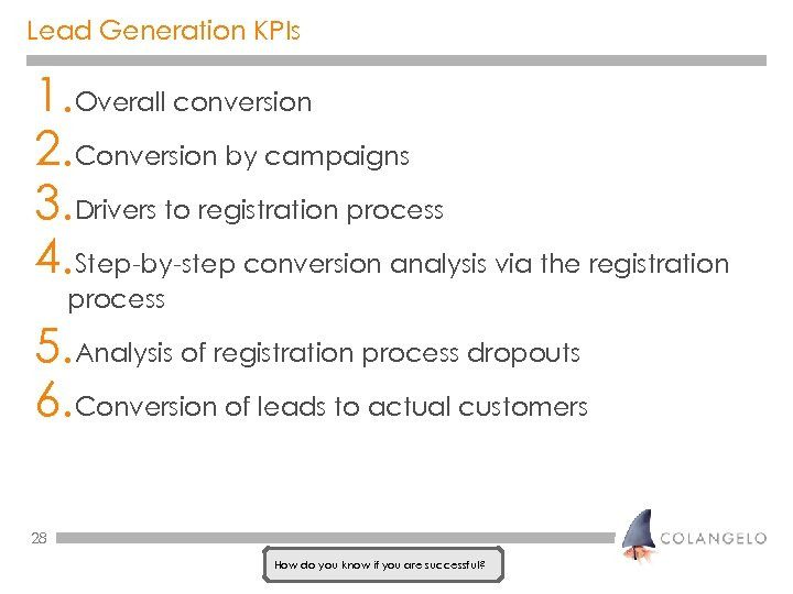 Lead Generation KPIs 1. Overall conversion 2. Conversion by campaigns 3. Drivers to registration