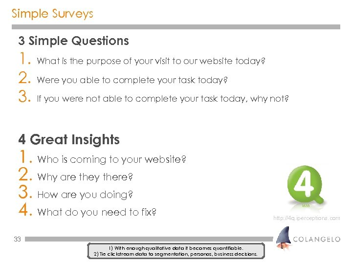 Simple Surveys 3 Simple Questions 1. 2. 3. What is the purpose of your
