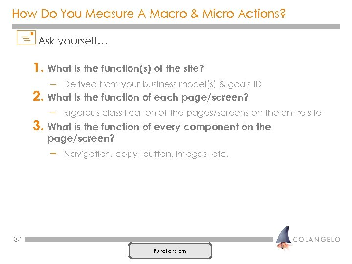 How Do You Measure A Macro & Micro Actions? +Ask yourself… 1. What is