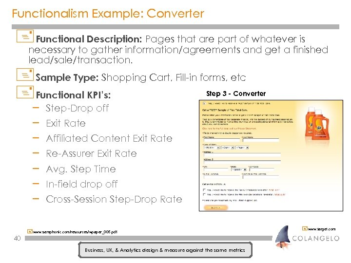 Functionalism Example: Converter +Functional Description: Pages that are part of whatever is necessary to