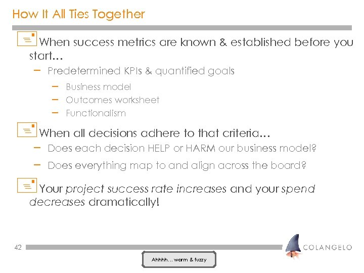 How It All Ties Together +When success metrics are known & established before you