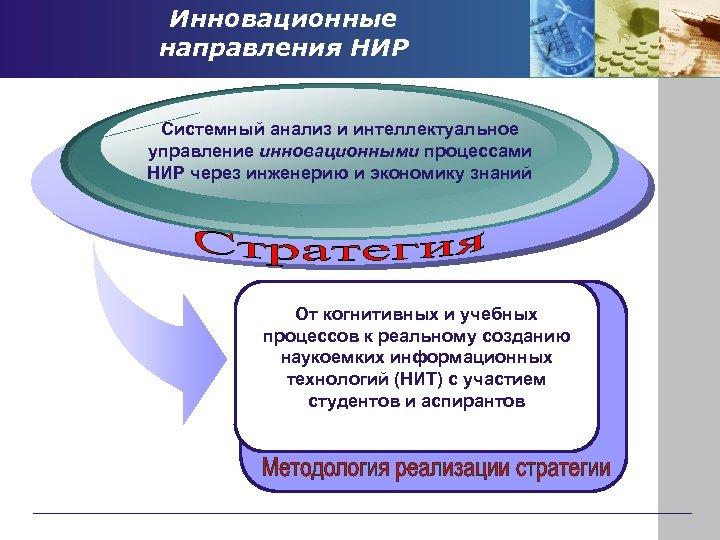 Инновационные направления НИР Системный анализ и интеллектуальное управление инновационными процессами НИР через инженерию и