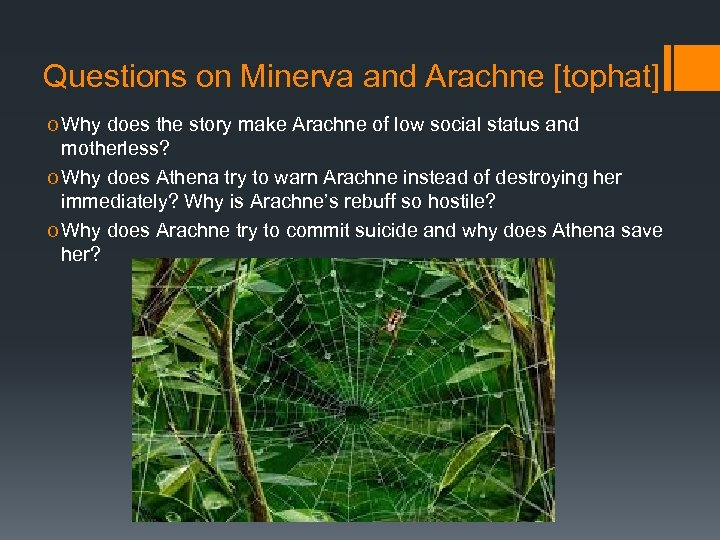 Questions on Minerva and Arachne [tophat] o Why does the story make Arachne of