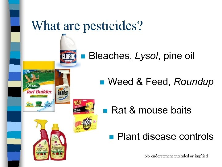 What are pesticides? n Bleaches, Lysol, pine oil n Weed & Feed, Roundup n