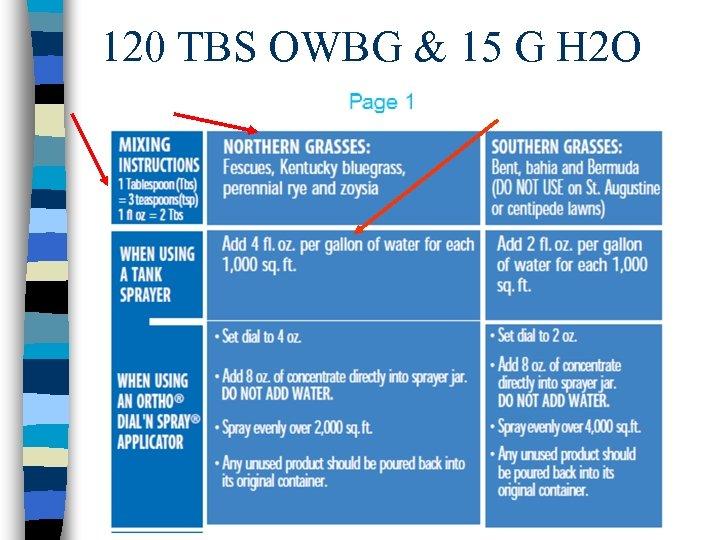 120 TBS OWBG & 15 G H 2 O