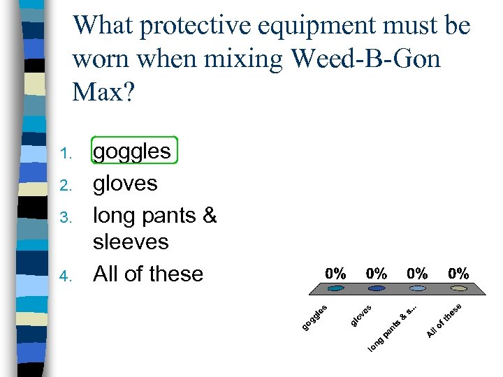 What protective equipment must be worn when mixing Weed-B-Gon Max? 1. 2. 3. 4.