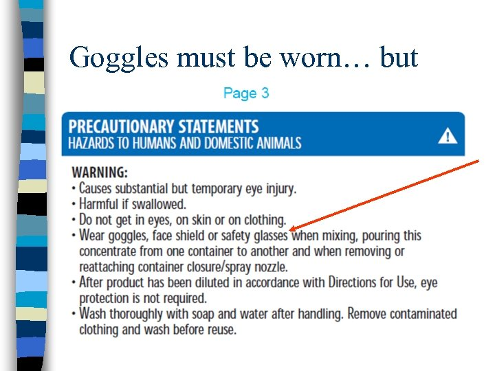 Goggles must be worn… but