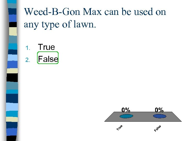 Weed-B-Gon Max can be used on any type of lawn. 1. 2. True False