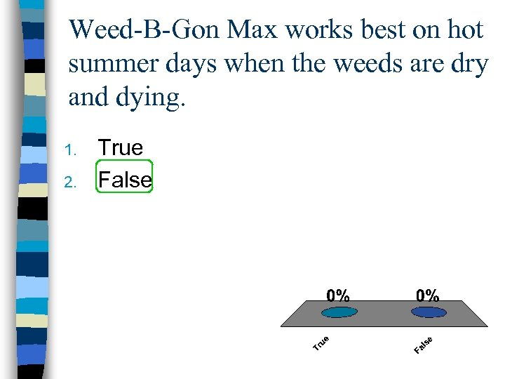 Weed-B-Gon Max works best on hot summer days when the weeds are dry and