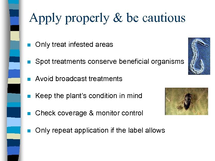 Apply properly & be cautious n Only treat infested areas n Spot treatments conserve
