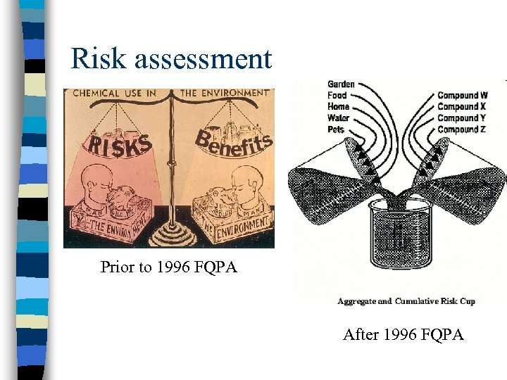 Risk assessment Prior to 1996 FQPA After 1996 FQPA