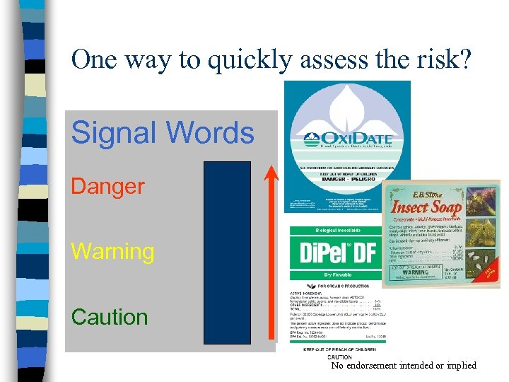 One way to quickly assess the risk? Signal Words Danger Warning Caution No endorsement