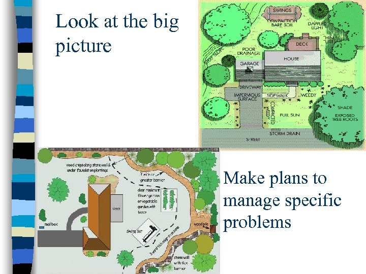 Look at the big picture Make plans to manage specific problems