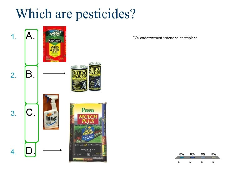 Which are pesticides? 1. A. 2. B. 3. C. 4. D. No endorsement intended