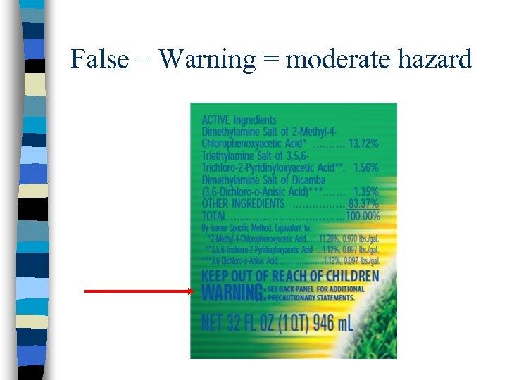 False – Warning = moderate hazard