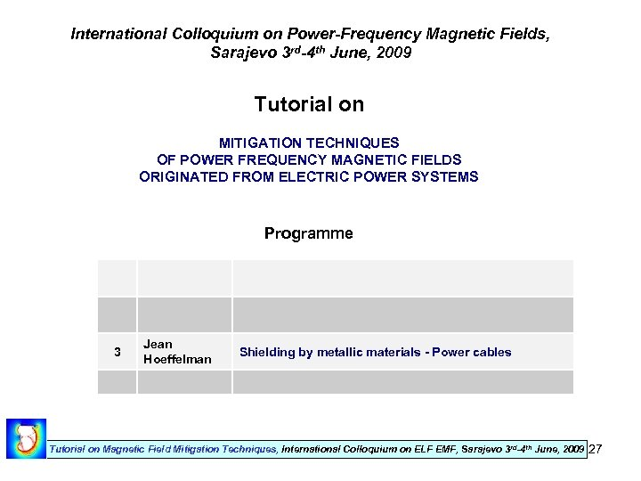 International Colloquium on Power-Frequency Magnetic Fields, Sarajevo 3 rd-4 th June, 2009 Tutorial on