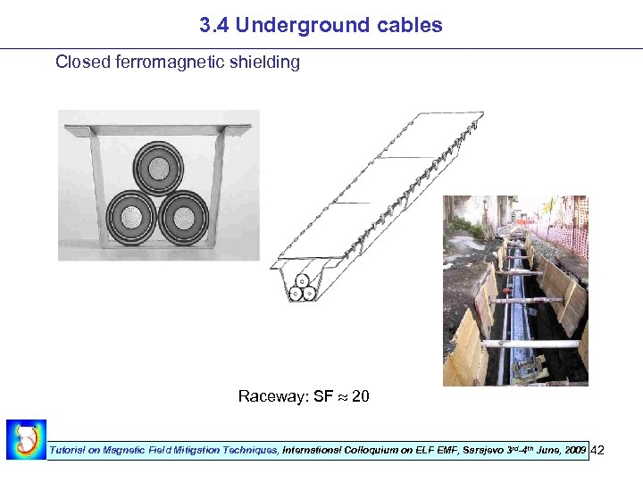 3. 4 Underground cables Closed ferromagnetic shielding Raceway: SF 20 Tutorial on Magnetic Field
